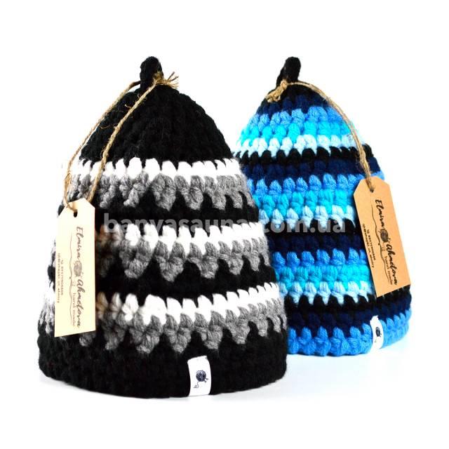 Вязаная шапка для бани, акрил. Шапочки для бани от Эльмиры в магазине Аксессуары Баня Сауна Украина